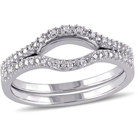 Miabella 1 10 Carat TW Diamond Sterling Silver Set Of Two Wedding Bands
