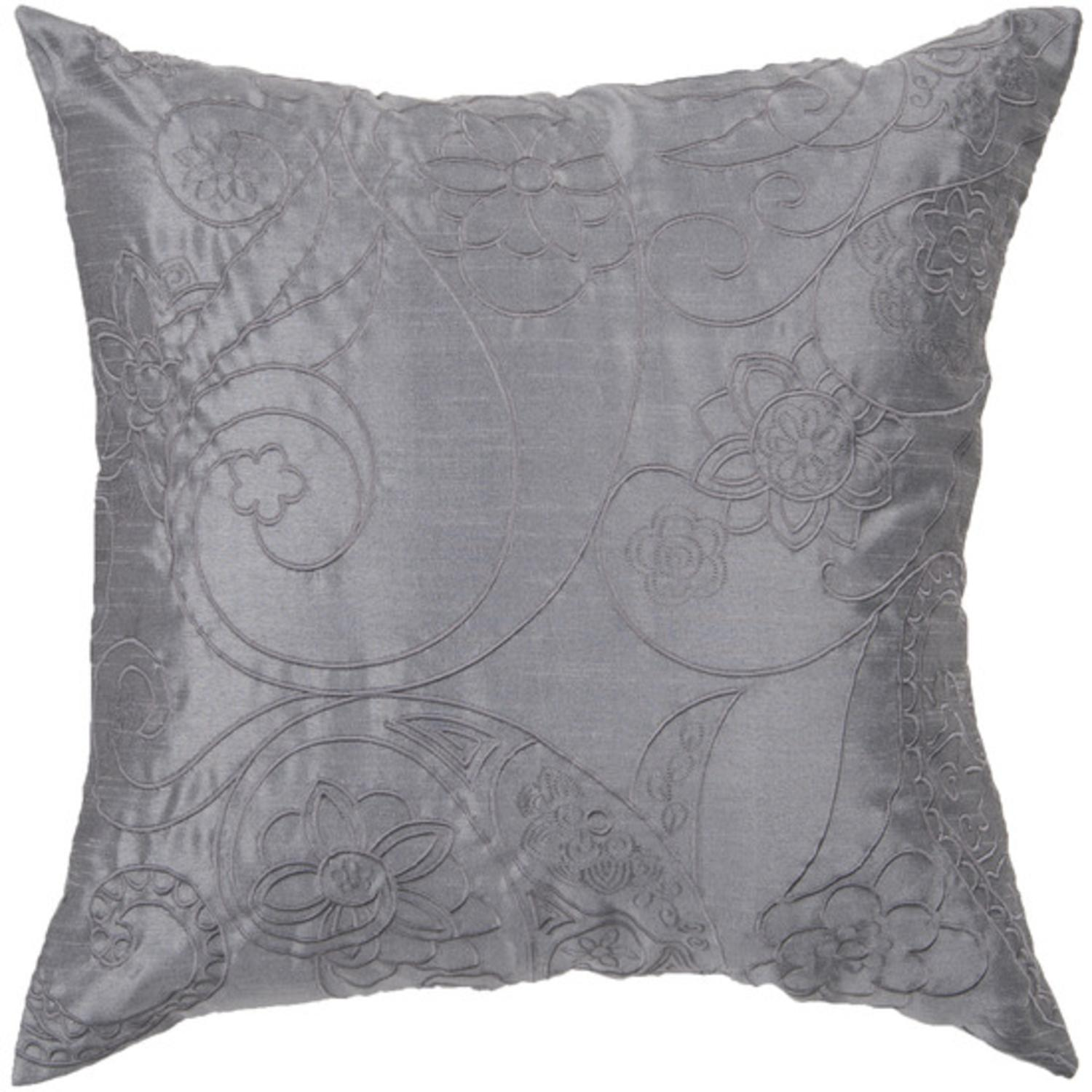 "18"" Slate Blue Floral Paisley Swirl Decorative Down Throw Pillow"