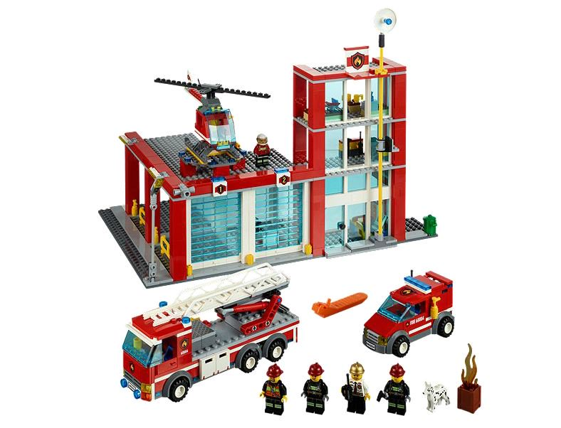 Lego CITY Fire Station w  Helicopter, Firetruck & Van Kids Playset | 60004 by Lego