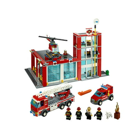 Lego City Fire Station W Helicopter Firetruck Van Kids Playset