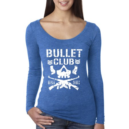 Trendy USA 786 - Women's Long Sleeve T-Shirt Bullet Club Skull Bone Soldier Japan Pro Wrestling Large Royal Blue