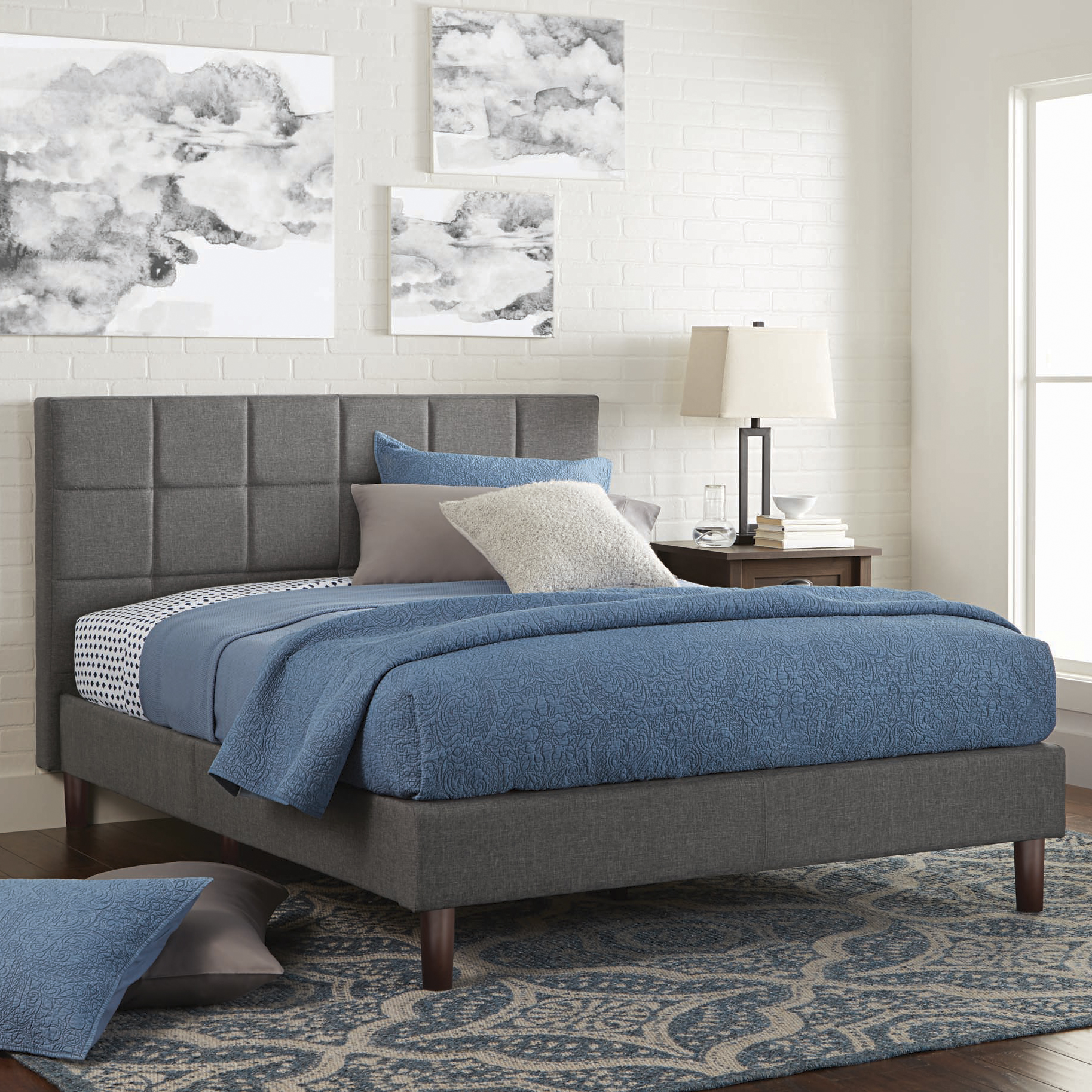 Better Homes and Gardens Knox Upholstered Platform Bed, Multiple Sizes by Zinus Inc