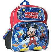 """Small Backpack - Disney - Mickey Mouse Duck Goofy Black 12"""" 002121"""