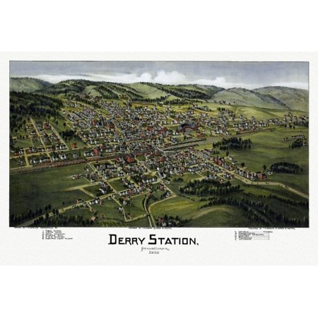 Antique Map of Derry Station Pennsylvania 1900 Dauphin County Poster Print