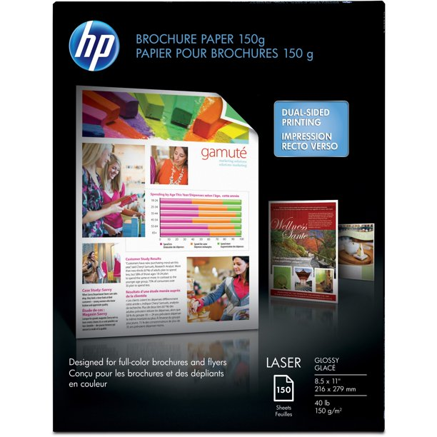 HP, HEWQ6611ACT, 40 lb Glossy Brochure Paper, 750 / Carton, White