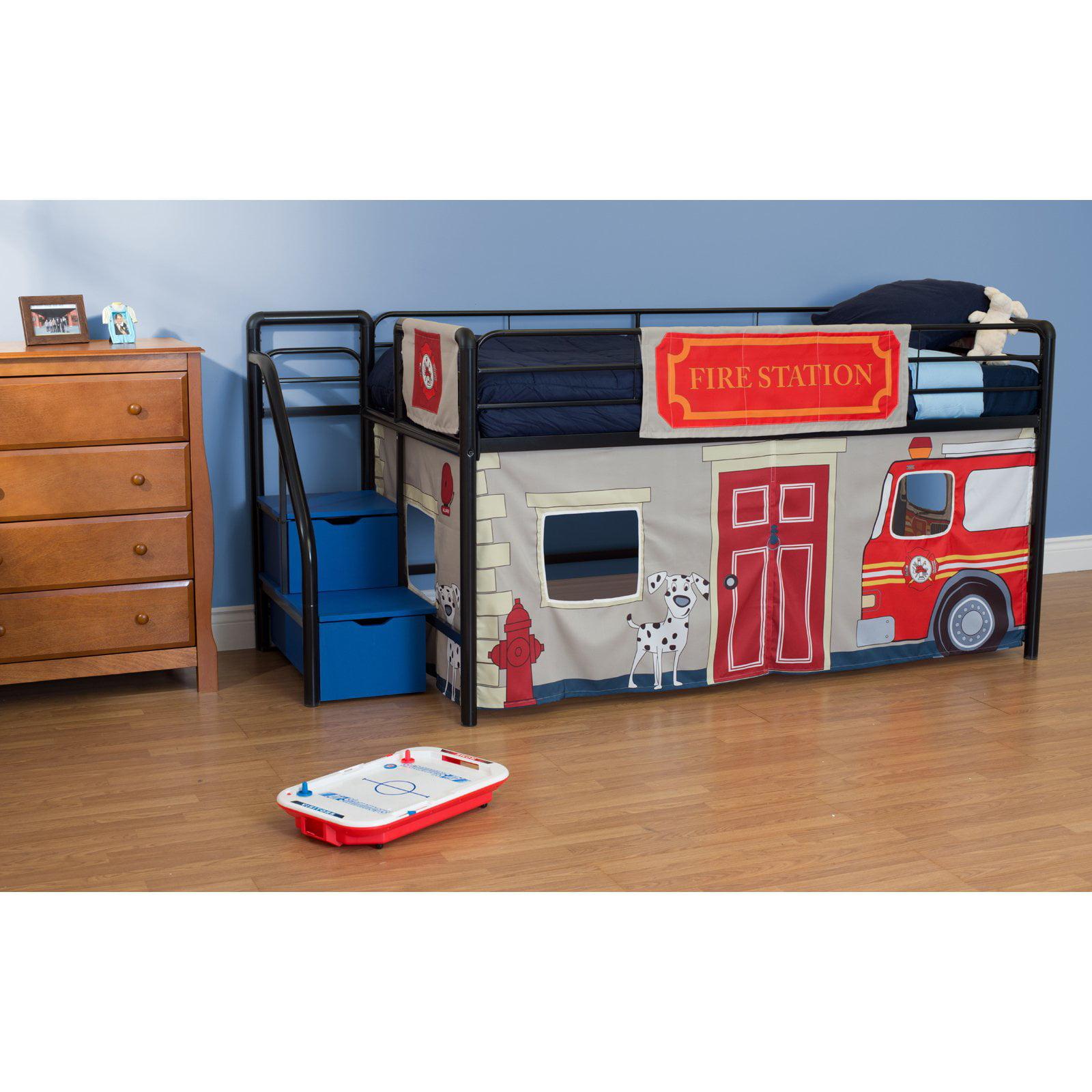 Fire Department Junior Loft With Blue Steps And Storage   Black    Walmart.com