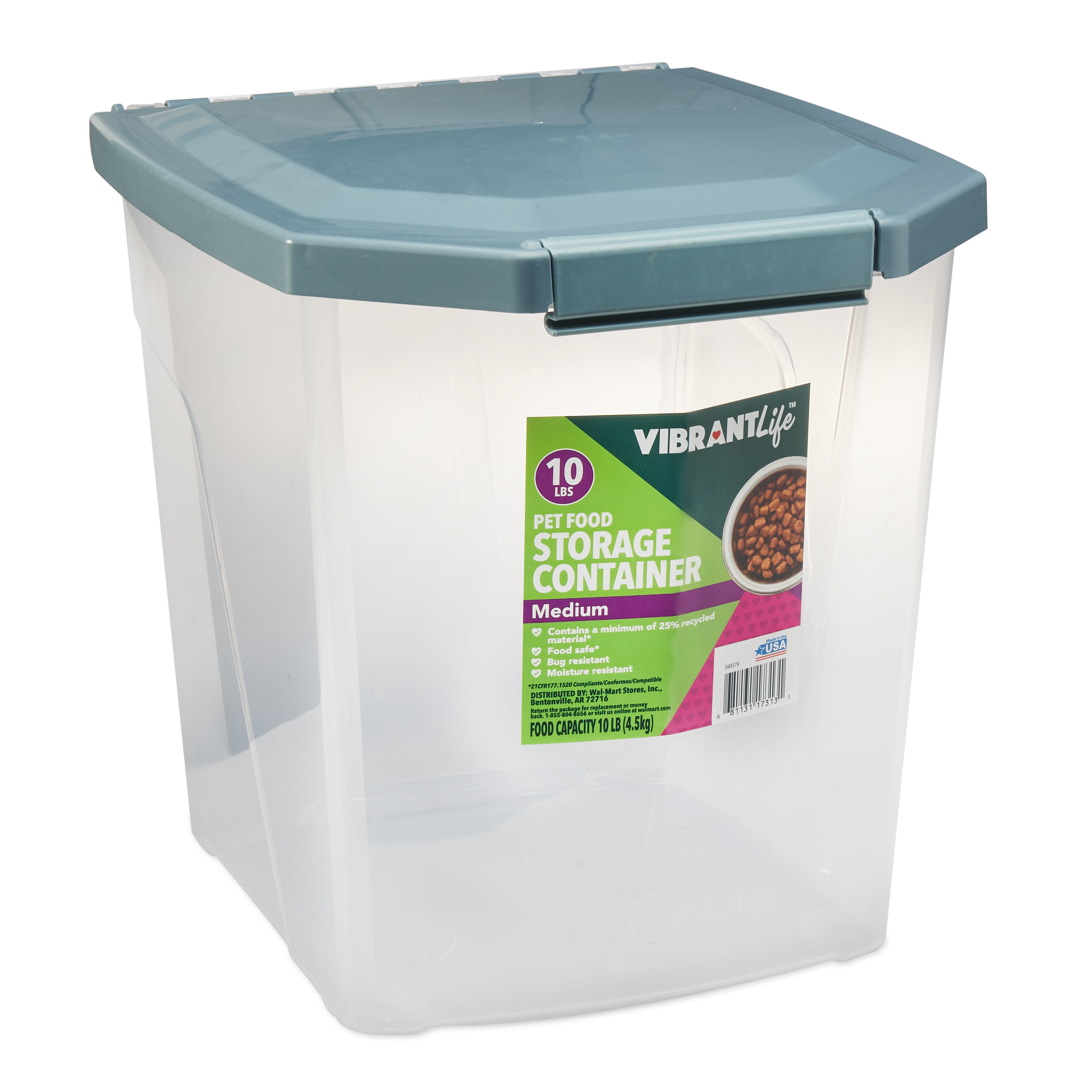 Vibrant Life Pet Food Storage Container, Medium, 10 lb