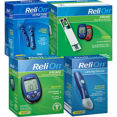 Bonus ReliOn Diabetic Supply Kit (Blood Glucose Monitor, Blood Glucose Test Strips, Lancets and More)