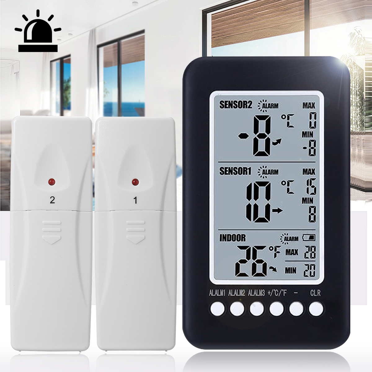 Wireless Digital LCD Indoor Thermometer Monitor Weather Station with Temperature Gauge Meter Freezer Alarm with 2 Sensor