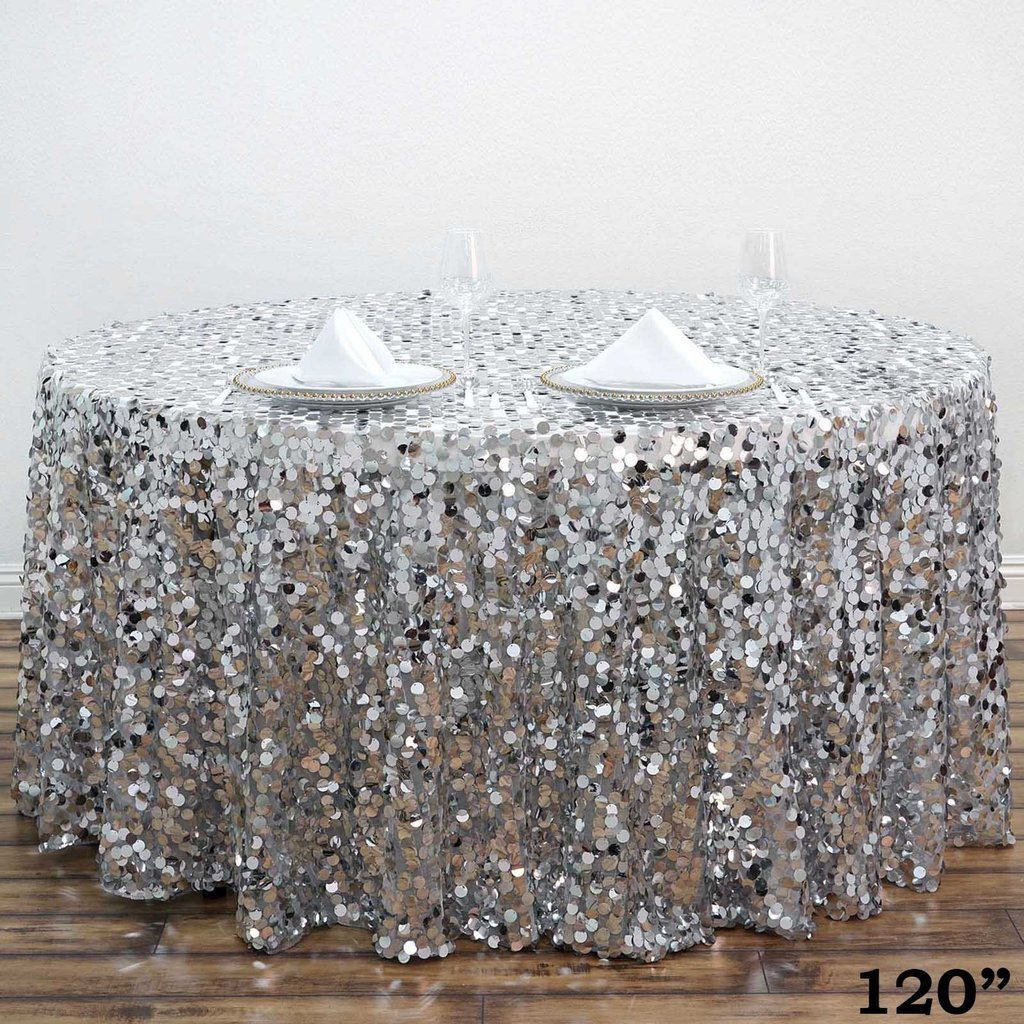 """BalsaCircle 120"""" Big Payette Round XL Sequin Tablecloth Wedding Party Linens by"""