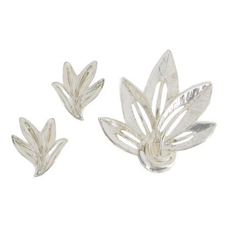 Leaf Clip On Earrings and Pin Brooch Silver Tone Jewelry Set