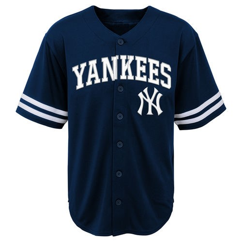 MLB New York YANKEES TEE Short Sleeve Boys Fashion Jersey Tee 60% Cotton 40% Polyester BLACK Team Tee 4-18