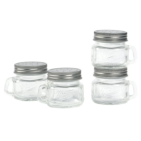 Mason Craft and More 2 Ounce Round Glass Salt and Pepper with Handle and Silver Metal Lid, Set of 4 - Craft Jars