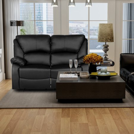 Harper & Bright Designs Home Theater Recliner PU Leather Reclining Loveseat (Black)