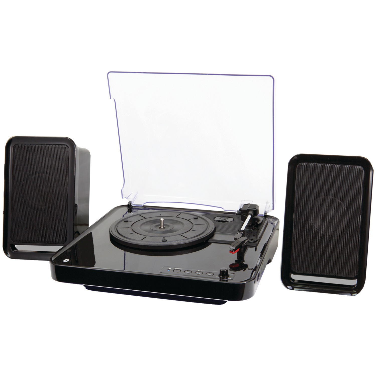 iLive ITTB757B All-in-One Bluetooth Turntable & Stereo Speaker System