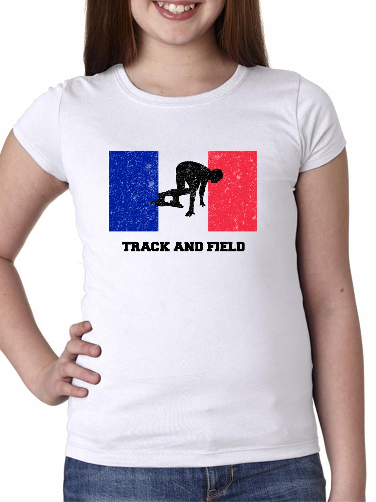 France Olympic - Weightlifting - Flag - Silhouette Girl's Cotton Youth T-Shirt