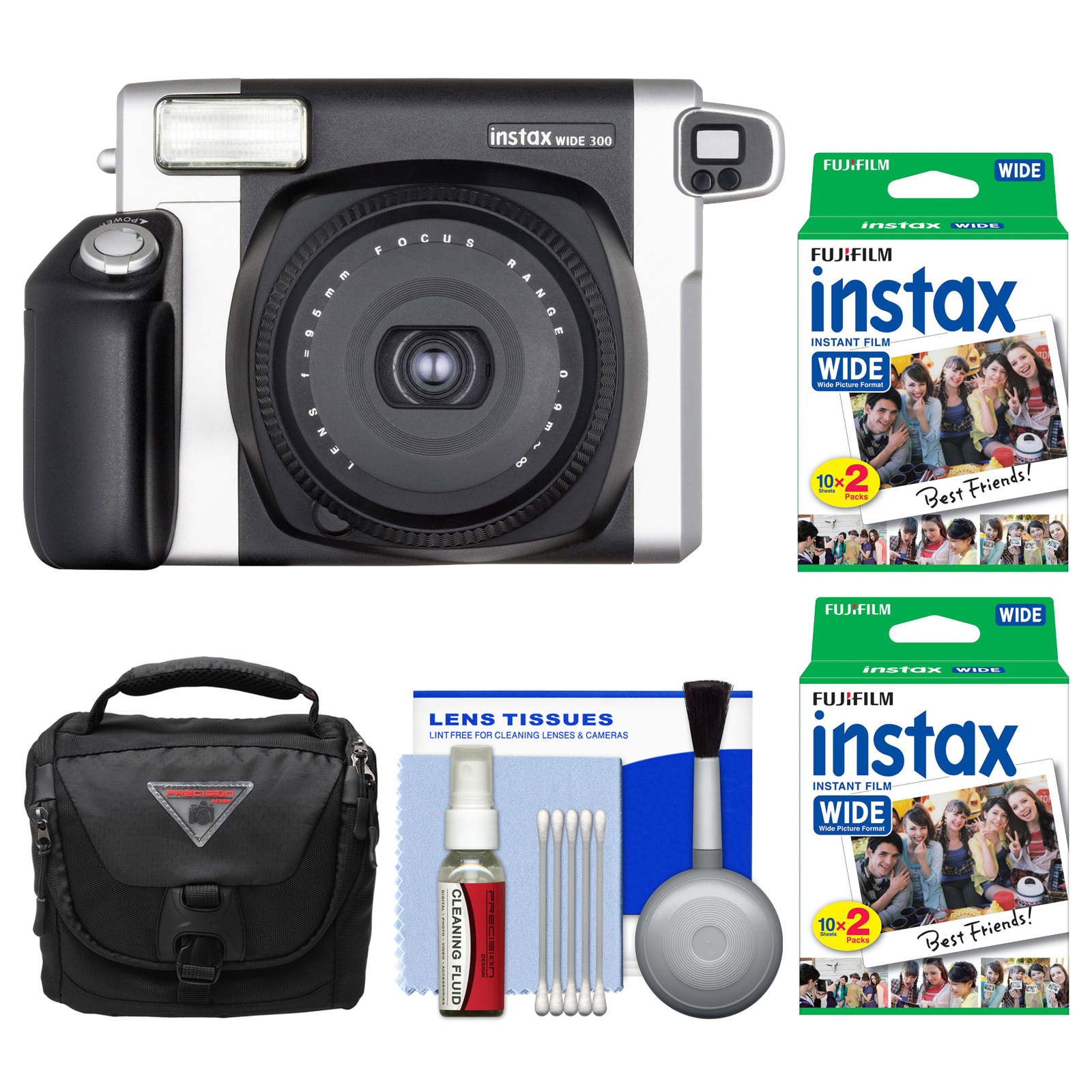 FujiFilm Instax Wide 300 Instant Film Camera with 40 Wide Twin Prints + Case + Kit by Fujifilm