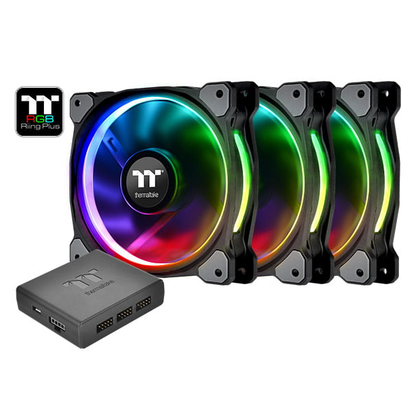 Thermaltake Riing Plus 12 RGB LED 120mm Computer PC CaseFan (Triple Pack) CL-F053-PL12SW-A by Thermaltake