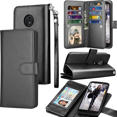 Moto G6 Play Case, Moto G6 Forge Wallet Case, Motorola G6 Play PU Leather Cases, Tekcoo ID Cash Credit Card Slots Holder Carrying Folio Flip Cover [Detachable Magnetic Hard Case] Kickstand - Black ()