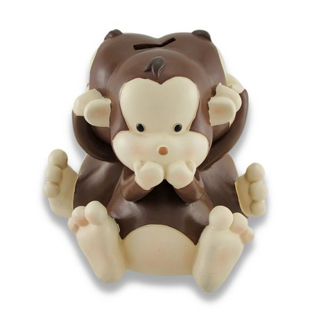 Personalized Baby Bank - Baby Monkey See, Speak, Hear No Evil Coin Bank 4.5 In.