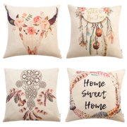 Tayyakoushi Set of 4 Bohemian Style Decorative Throw Pillow Covers 18 x 18 Inch for Sofa Couch Dcor