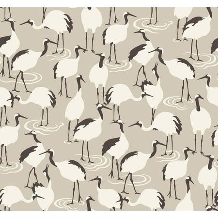 Dwell Studio Sham - York Wallcoverings DR6358 Dwell Studio Winter Cranes Wallpaper - Browns
