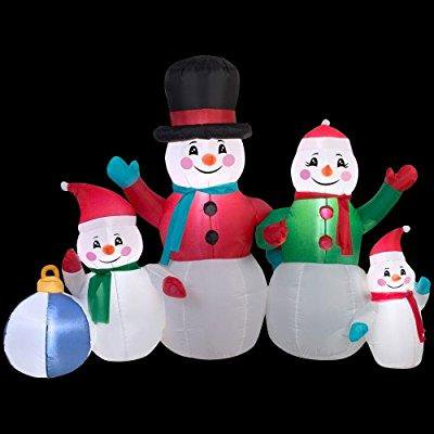 Christmas Inflatable 6 Snowman Family Airblown Decoration By Gemmy