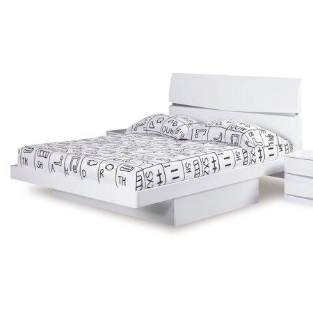 AURORA KING BED WHITE Drawer Nightstand Master Dresser Mirror