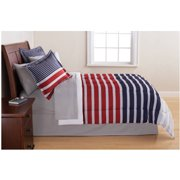 Mainstays Grey & Blue Stripe Bed in a Bag Bedding Set