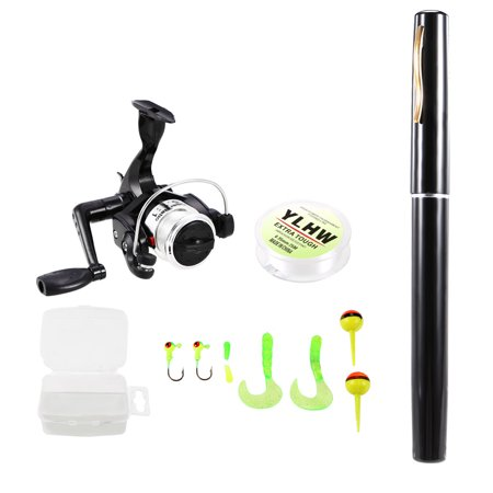 Pen Fishing Rod and Reel Combo Set Mini Telescopic Pocket Fishing Rod Spinning Reel Fishing Line Soft Lures Baits Jig