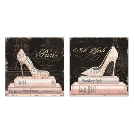 Trendy Paris and New York Eiffel Tower and Empire State Building Pink High-Heels by Marco Fabiano; Two 12x12in Poster Prints ()