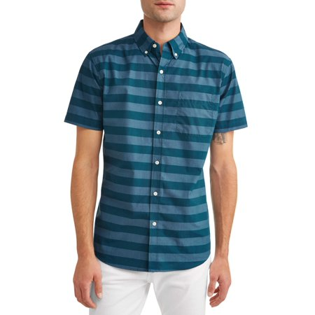 Lee Men's Short Sleeve Striped Oxford Button Down Shirt, Available up to size (Button Down Chest Pocket Oxfords)
