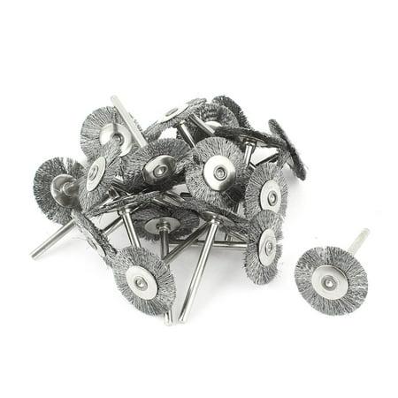 "Unique Bargains 22pcs 1/8"" Shank 1"" Dia  Wire Brush Polishing Buffing Wheel Rotary Tool"