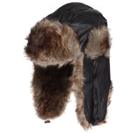 Dakota Dan Black Trooper Faux Leather Ear Flap Cap w/ Brown Faux Fur Lining (Dakota Black Leather)