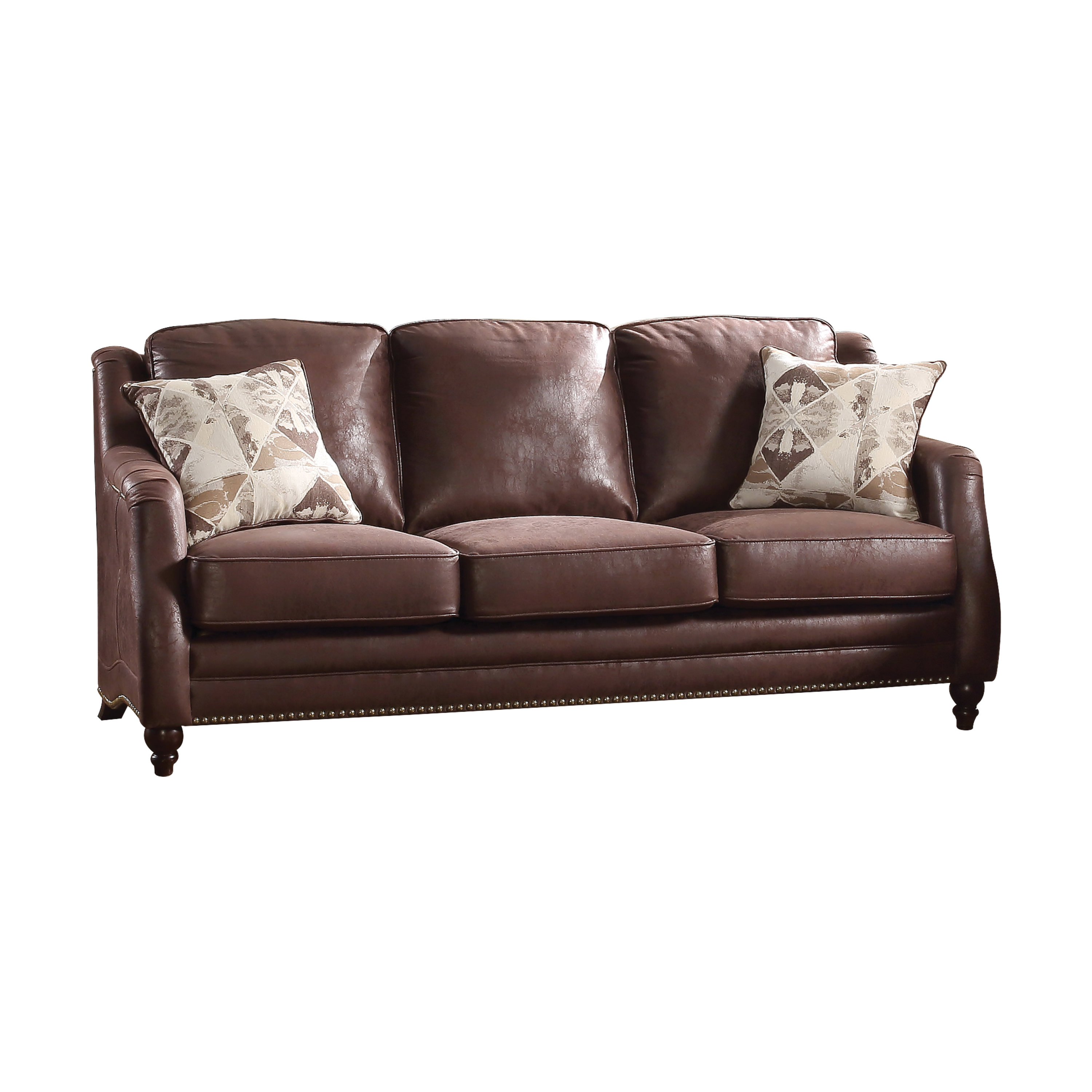 Acme Nickolas Stationary Sofa with 2 Pillows in Chocolate Fabric