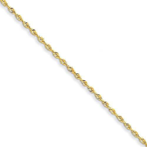 14k Yellow Gold 8in 2.0mm D/C Extra-Lite Rope Chain Bracelet