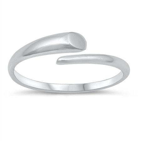 Sterling Silver Nail (Rhodium Plated Sterling Silver Wrapped Around Nail Ring Size 9)