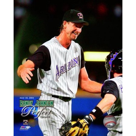 - Randy Johnson #51 shows his excitement as he and catcher Robby Hammick  #7 hug after pitching a perfect game against Atlanta at Turner Field May 18 2004 Photo Print