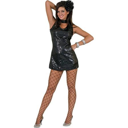 Disco Theme Party Dress (Black Disco Dress Adult Halloween)