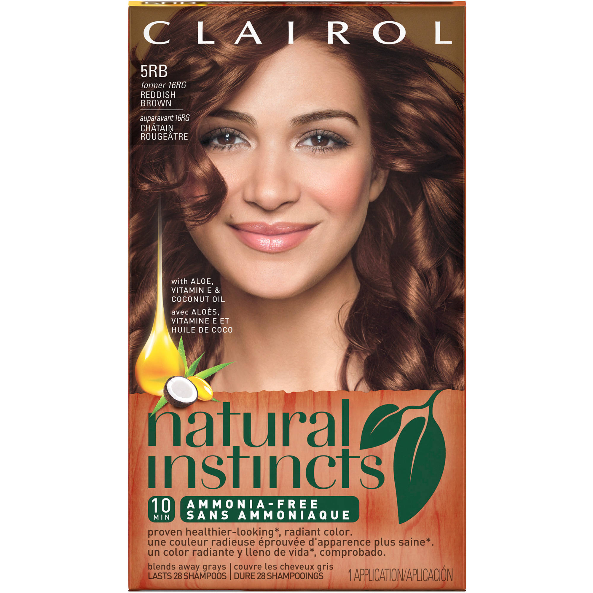Clairol Natural Instincts, 5RB / 16RG Sedona Sunset Reddish Brown, Semi-Permanent Hair Color, 1 Kit