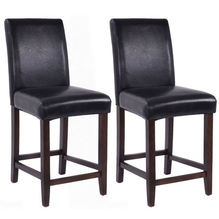 Costway Set Of 2 Kitchen Bar Stools Padded Dining Height Wood Chairs Room Furniture
