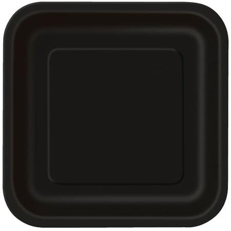 Square Paper Plates, 7 in, Black, 16ct - Paper Square Plates