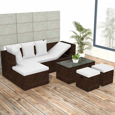 Garden Lounge Set 12 Pieces Poly Rattan Brown ()