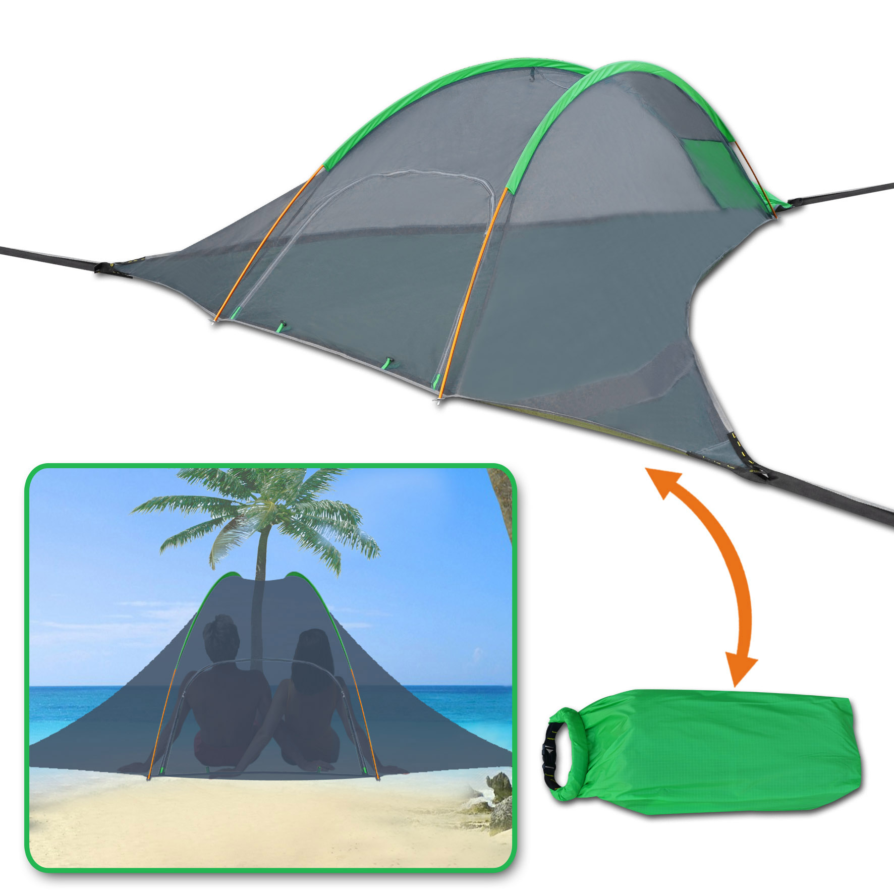 Sunrise Portable Hanging Camping Tree House Tent Outdoor Traveling Hammock W Mosquito Net, Carry Bag Green