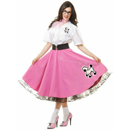 Complete 50's Poodle Outfit Pink Women's Adult Halloween - Simple Halloween Outfits Adults