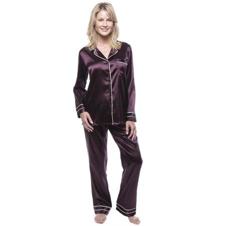 Noble Mount Women's Classic Satin Pajama Set - Lined Satin Pajamas