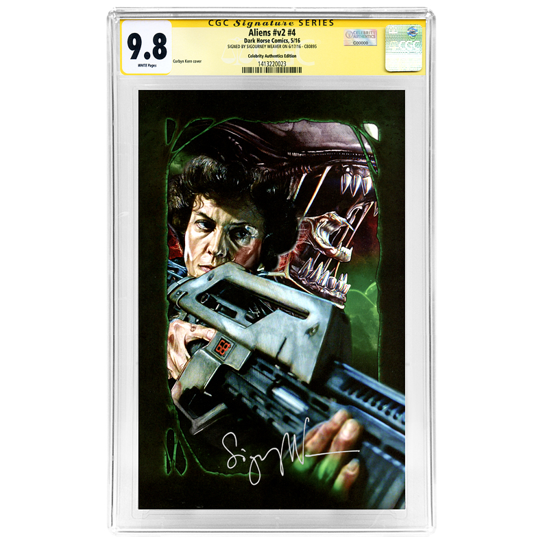 Sigourney Weaver Autographed Aliens #4 Celebrity Authentics Variant Cover CGC Signature Series 9.8 Comic