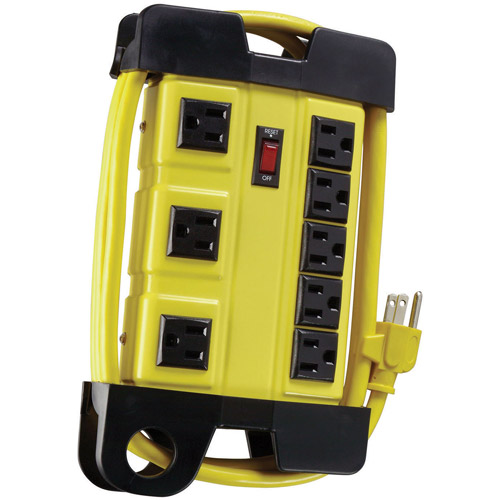 Coleman Cable Metal 8-Outlet Workshop Power Strip with Cord Wrap, 6' Power Cord and 3-Transformer Outlets, Yellow, 04655