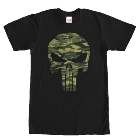 Marvel Men's Punisher Camo Skull Symbol T-Shirt (Punisher Shirt)