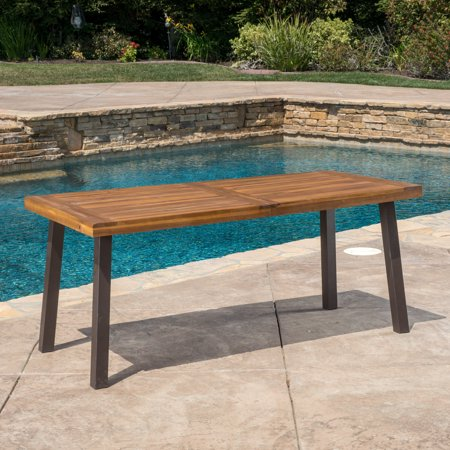 Domini Outdoor Acacia Wood Dining Table, Teak Finish